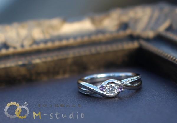 ダイヤモンド・アメジスト 婚約指輪