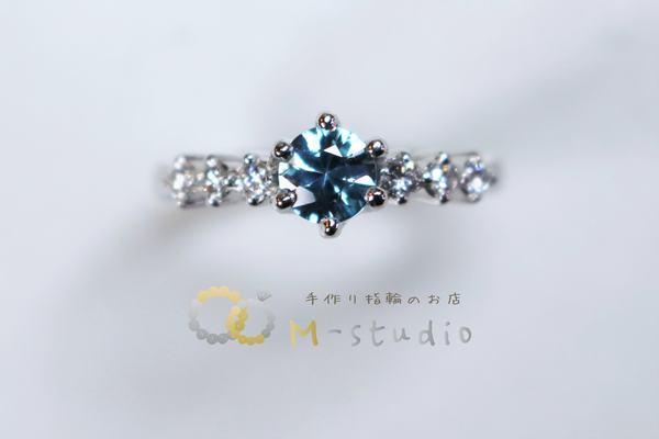 ブルージルコンの婚約指輪