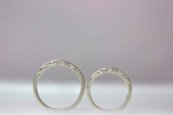 手作り結婚指輪 A carving of ivy